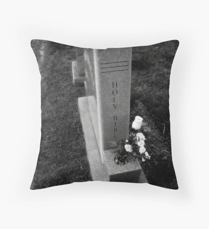 Holy Bible Tombstone Black&White Throw Pillow