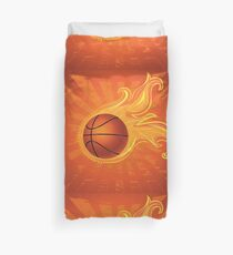 Fire Basketball Ball Background Duvet Cover