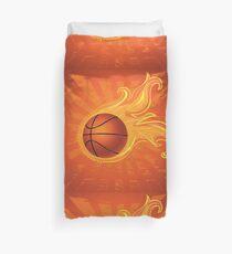 Fire Basketball Ball Background Duvet Cover