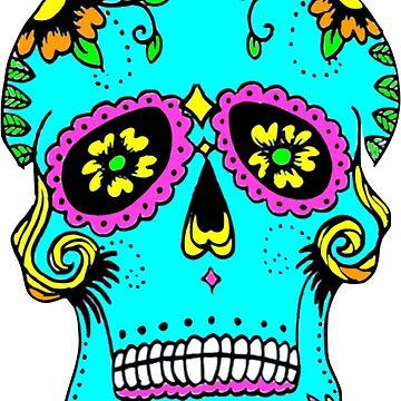 Dia De Los Muertos Colorful Skull  by Claireandrewss