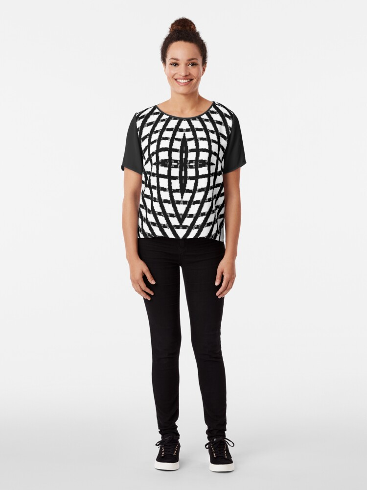 Alternate view of blazon,  character, letter, sign, type, o, 0, circle, range, round Chiffon Top