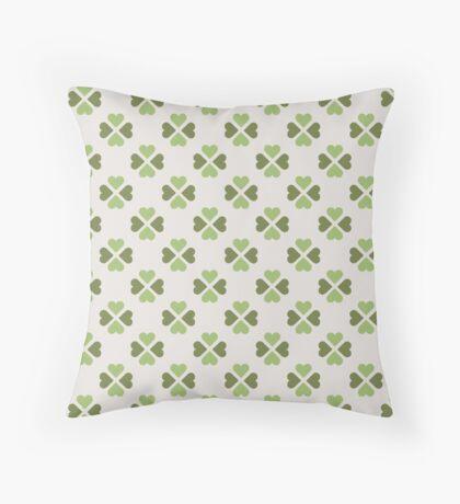 Green Heartshaped Clover Retro Pattern Throw Pillow