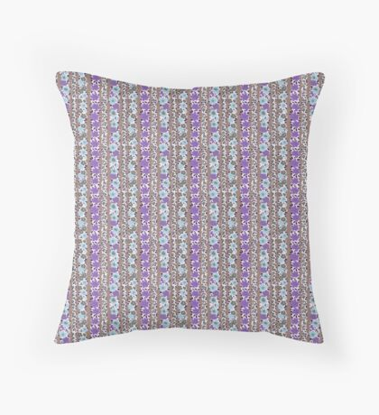 Ultra Violet and Baby Blue Flower Stripes Retro Pattern Throw Pillow