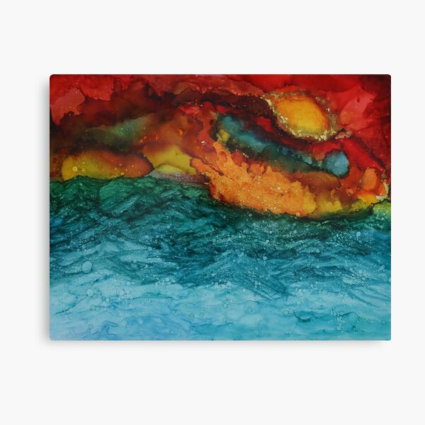 "/""Where Sky Meets Sea/"" Original Watercolor Print of Turquoise Teal Pink Mauve"