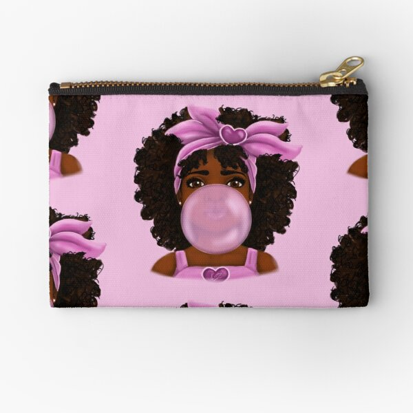 Bubble Gum | Little Black Girl Portrait Zipper Pouch