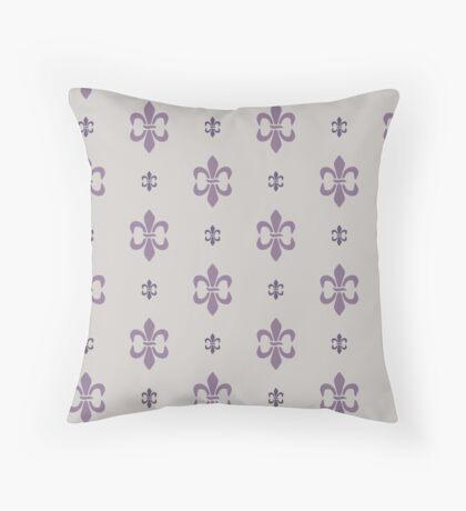 Purple Fleur De Lis Retro Pattern Throw Pillow
