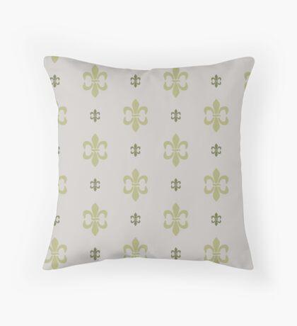 Green Fleur De Lis Retro Pattern Throw Pillow