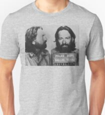 Willie Nelson Mug Shot Horizontal Black and White Unisex T-Shirt