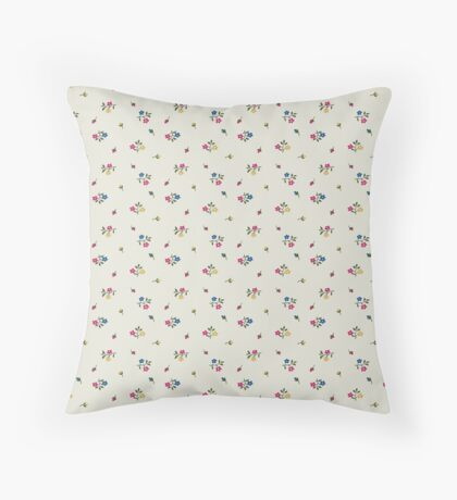 Bright Blue, Pink and Yellow Small Flower Retro Pattern Throw Pillow