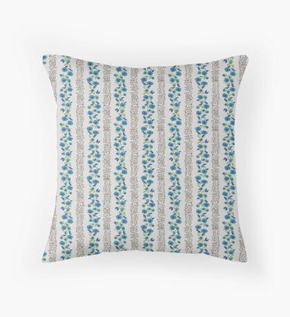 Blue Small Flower Vertical Stripe Retro Pattern Throw Pillow