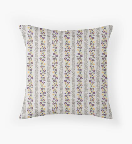 Purple and Yellow Small Flower Vertical Stripe Retro Pattern Throw Pillow