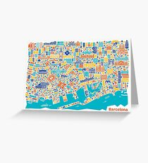 Barcelona City Map Poster Greeting Card