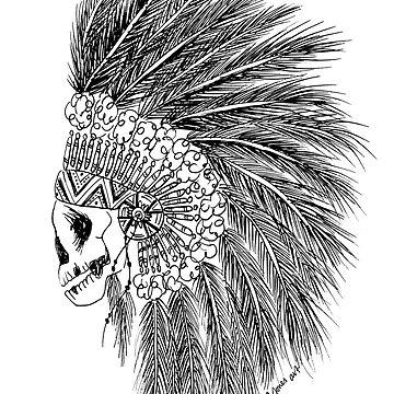 Emma Jones Art - Chief of the Dead - Boho Chief Illustration (Black) by emmajonesart