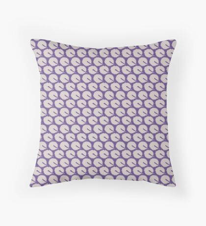White Dandelions on Ultra Violet Retro Pattern Throw Pillow