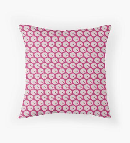 White Dandelions on Hot Pink Retro Pattern Throw Pillow