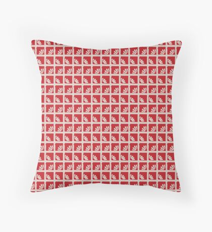 Daisies in Red Squares Retro Pattern Throw Pillow