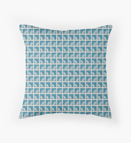 Daisies in Robins Egg Blue Squares Retro Pattern Throw Pillow