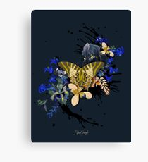 Vintage Black Jungle Butterfly Canvas Print