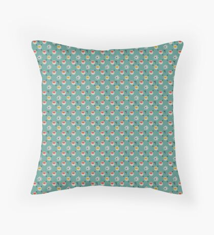Red and Yellow cups on Green with White Daisies Retro Pattern Throw Pillow