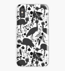 Black crowned crane with grass and flowers black silhouette  iPhone Case