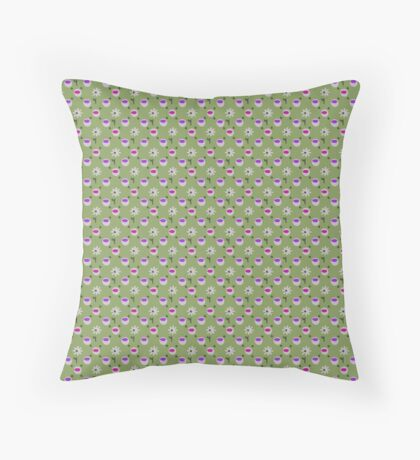 Ultra Violet and Hot Pink cups on Green with White Daisies Retro Pattern  Throw Pillow