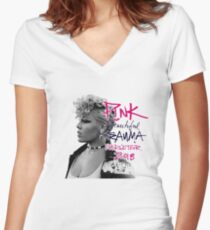 Pink - beautiful trauma worldtour 2018 Women's Fitted V-Neck T-Shirt