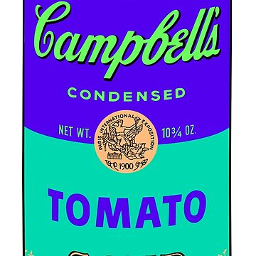 Andy Warhol Campbells soup can print sticker by jasmineGold