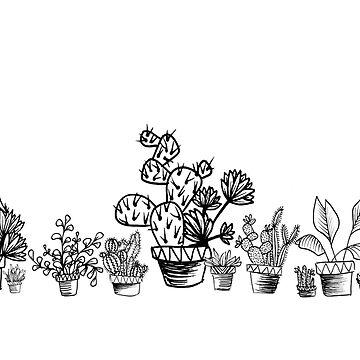 Emma Jones Art - Monochrome Potted Cacti Garden by emmajonesart