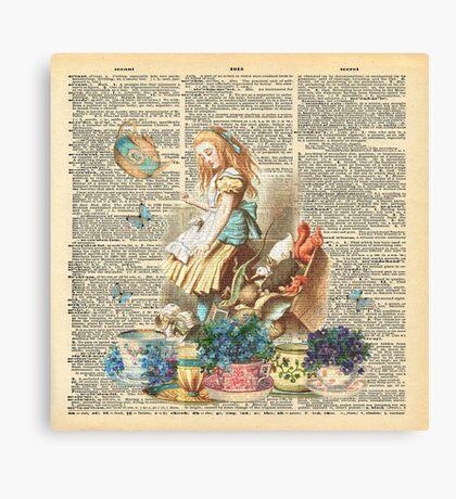 Vintage Alicia en el país de las maravillas en una página de diccionario Lienzo
