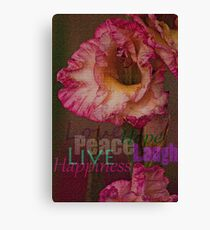 Peace, Love, Hope, Laugh, Live, Happiness Canvas Print