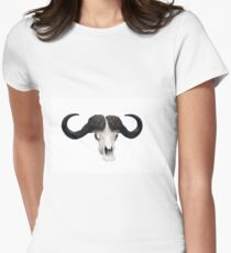African wild bull skull isolated Women's Fitted T-Shirt