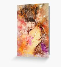 Kimono Girl in Watercolouring Greeting Card