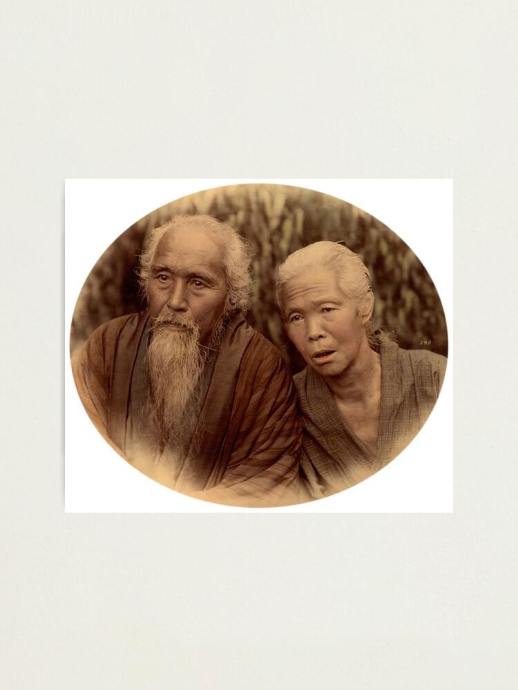 Alternate view of Elderly Japanese couple, 1890s Photographic Print