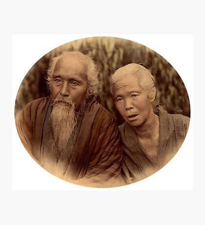 Elderly Japanese couple, 1890s Photographic Print