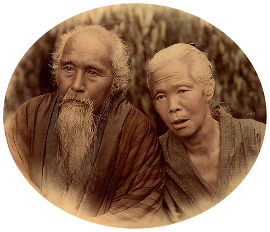 Elderly Japanese couple, 1890s by Fletchsan