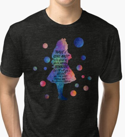 Colorido Alice In Wonderland Bonkers Cita Camiseta de tejido mixto