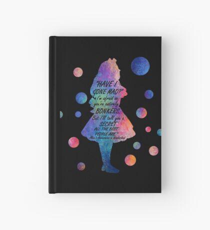 Colorido Alice In Wonderland Bonkers Cita Cuaderno de tapa dura