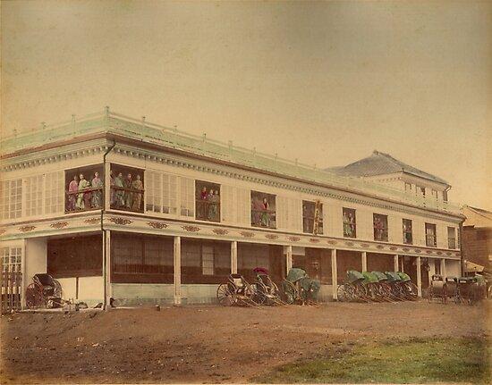 Jinpuro Brothel, Yokohama, Japan, 1890s by Fletchsan