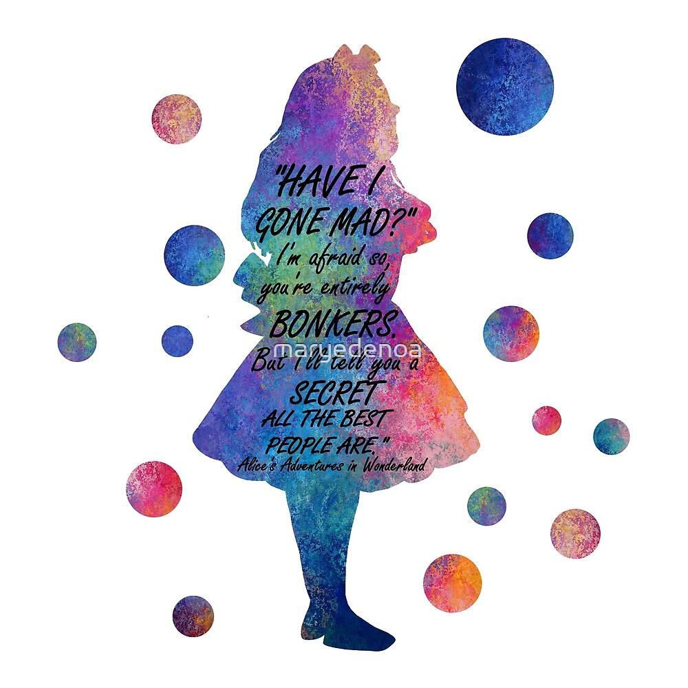 «Colorido Alice In Wonderland Bonkers Cita» de maryedenoa