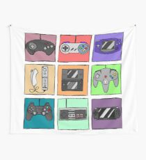 Game Controllers - Nintendo and Sony Wall Tapestry