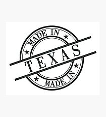 Made In Texas Stamp Style Logo Symbol Black Photographic Print