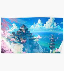 Anime Landscape | Sanctuary Japanese Temple  Poster