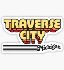 Traverse City, Michigan | Retro Stripes Sticker