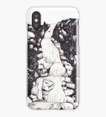 Waterfall landscape - graphic novel style iPhone Case/Skin