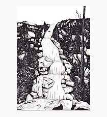 Waterfall landscape - graphic novel style Photographic Print
