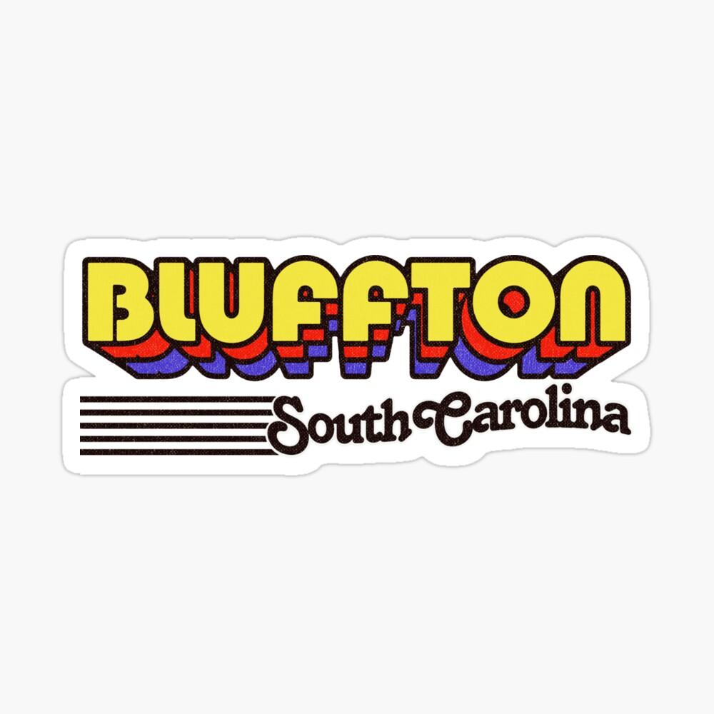 Bluffton, South Carolina | Retro Stripes Sticker