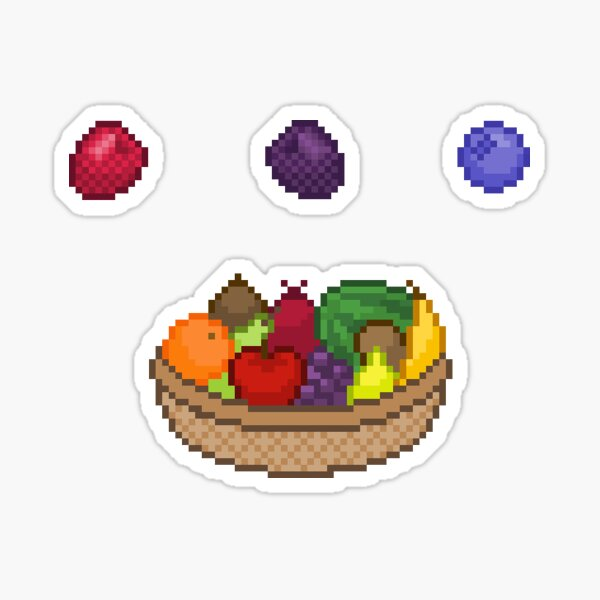 Pixel Art Fruit Stickers Sticker By Neonixarts Redbubble