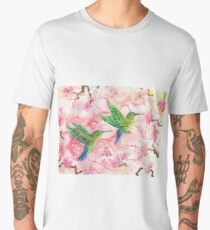Green Humming Birds with Blossom Men's Premium T-Shirt