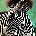 Baby Zebra - wildlife animal fine art painting by LindaAppleArt