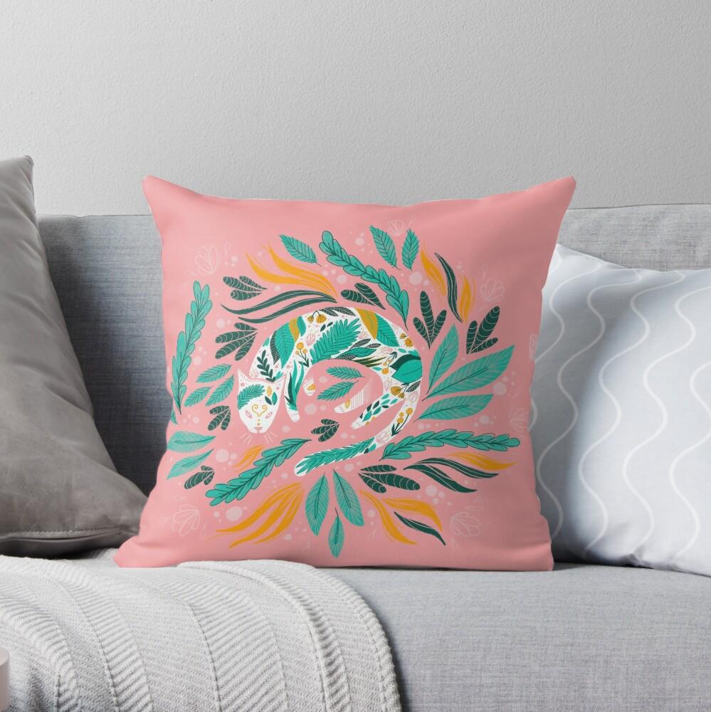 Floral Kitty Throw Pillow